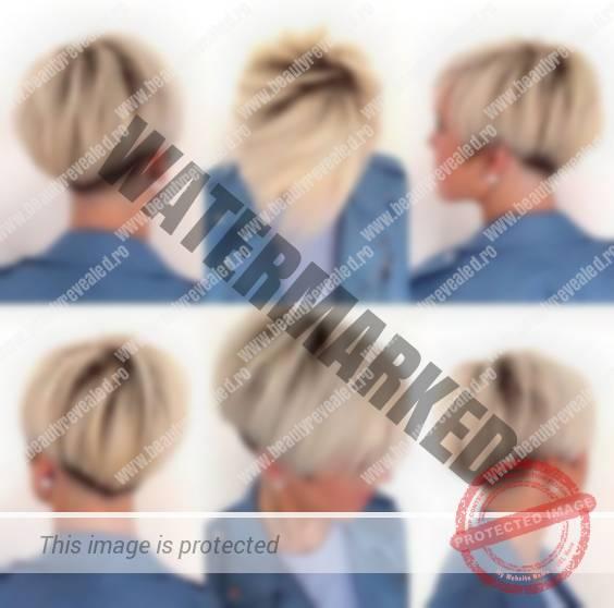 Tunsoare bob scurt cu breton oblic par blond