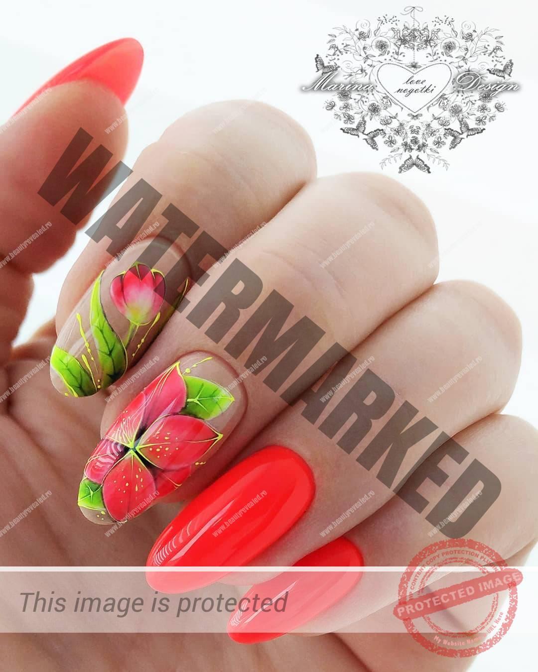 unghii rosii migdala cu flori