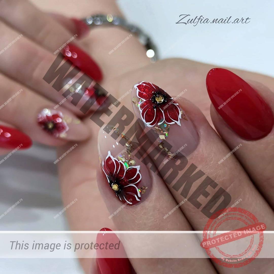 unghii rosii inchis migdala cu flori