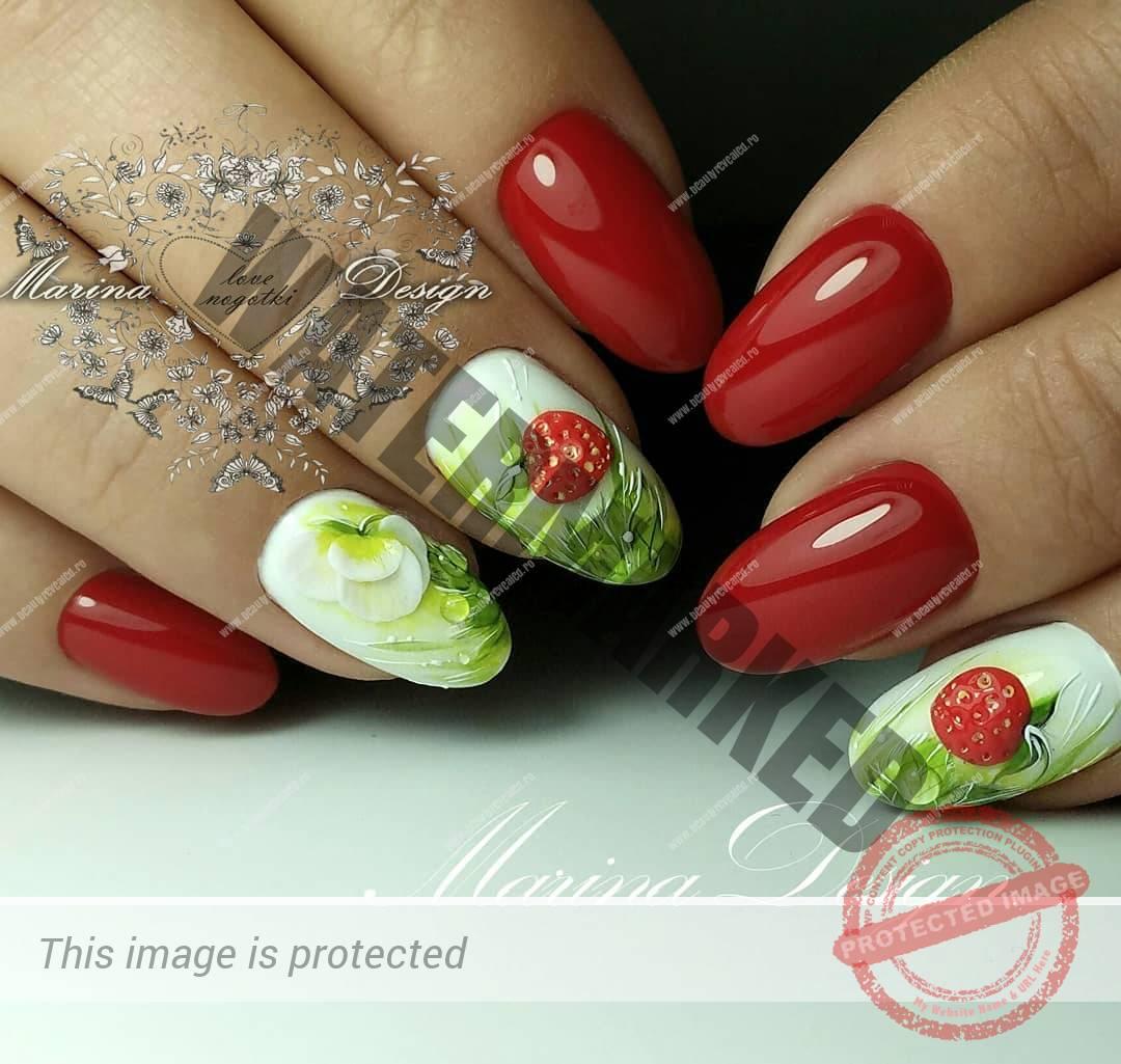 unghii rosii migdala cu model capsuni si flori cu alb