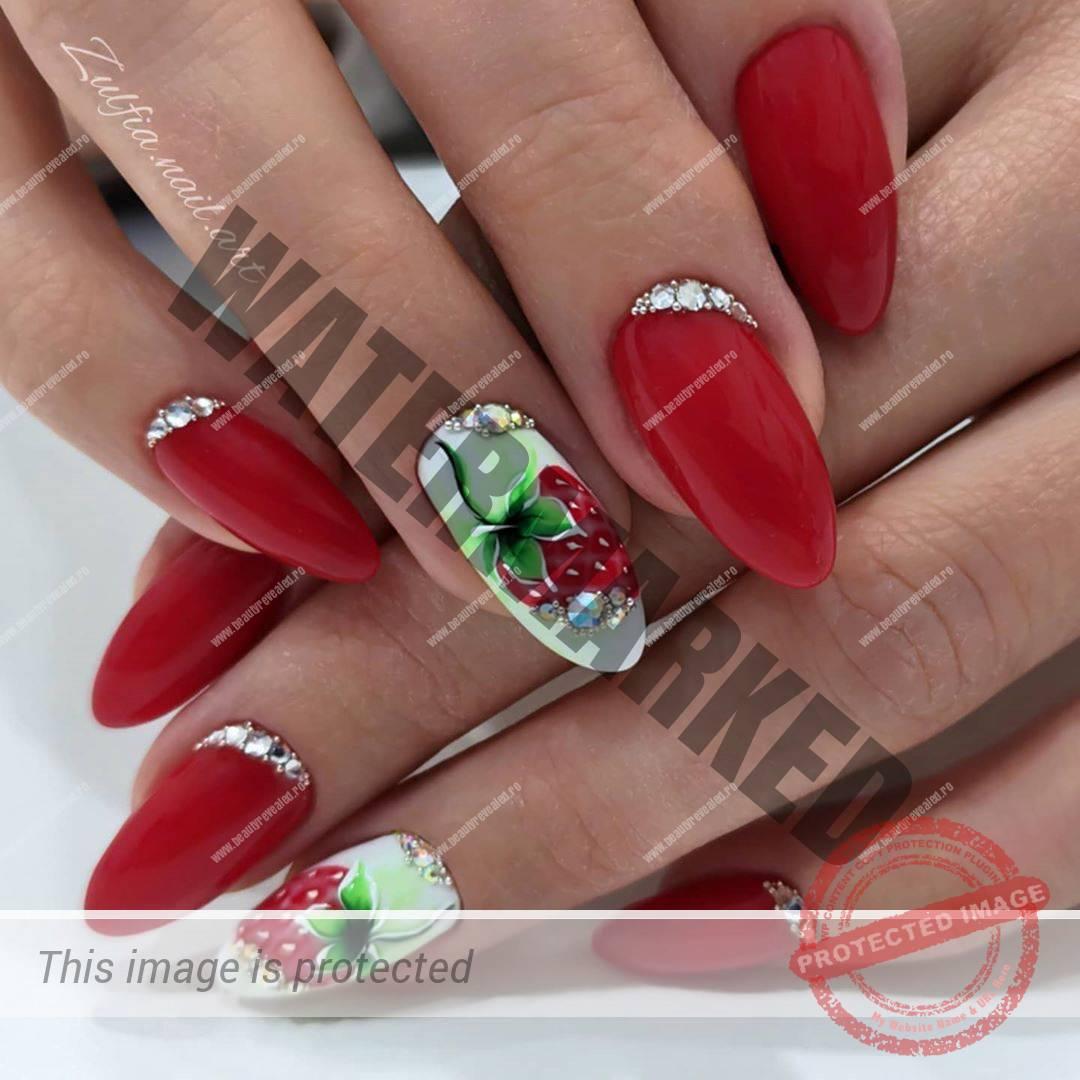 unghii rosii cu alb migdala cu model capsuni
